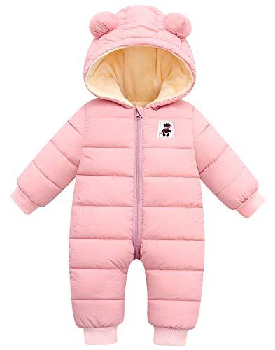 Happy Cherry - Abrigo de nieve para niño o niña, con capucha, 12-36 meses, 4 colores C-rosa 3-9 meses