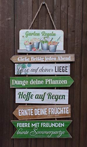 Dekoratives Schild Gartenregeln Holz/MDF a. Kordel Geschenk 61 cm