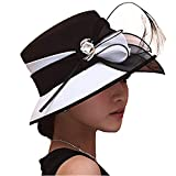 June's Young Women Church Hats Formal Dress Derby Hats with Feather Elegant Bucket Hats (Black/White)