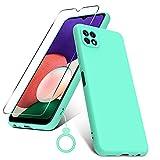 PULEN Funda para Samsung Galaxy A22 5G con 1 Cristal Templado Protector de Pantalla & 1 Silicona Dedo Anillo, Silicona Carcasa, Anti-Choques, Anti- Arañazos,Slim Delgada,Tacto Suave - Menta Verde