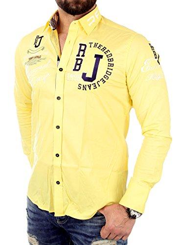 Redbridge Herren-Hemd, klassisch, langärmelig, Freizeithemd, leger Gr. XXXL, gelb