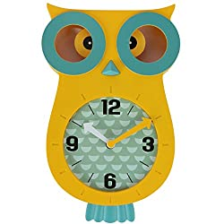 Lily's Home Pendulum Owl Clock with Revolving Eyes and Swinging Tail, Wonderful and Colorful Addition to Owl Themed Bedroom Décor, Yellow (13 x 8)