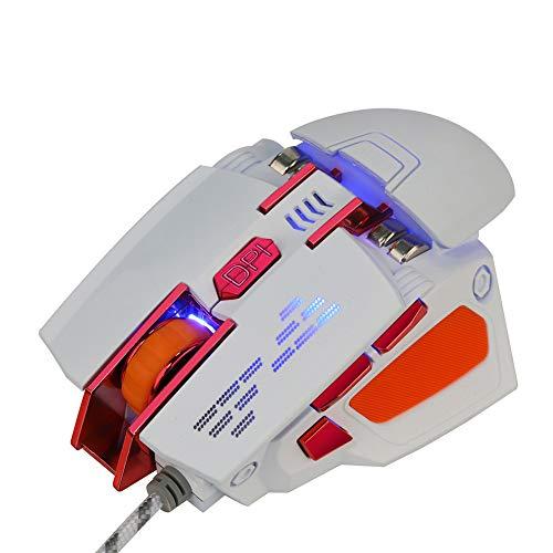 TYW Ratón del Juego, de 2,4 GHz con Cable Juego del ratón 2400 dpi Ajustable de los Ratones ópticos 6 Botones programables para PC Pro Gamer,Blanco