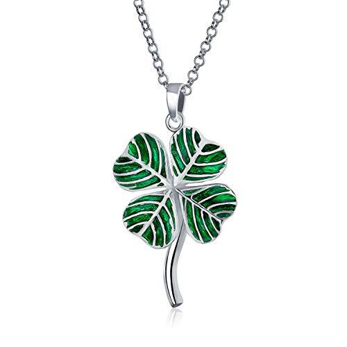 Bling Jewelry El Trébol Irlandés Green Amuleto De Buena Suerte 4 Hoja Clover Colgante Collar para Mujer Adolescente 925 Plata De Ley