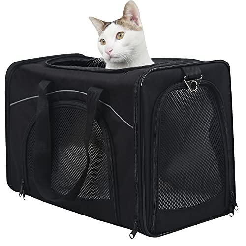 Petsfit Transporttasche Hunde und Katze, Katzentransportbox Hunde Transporttasche Hundebox Flugtasche für Haustiere im Auto Flugzeug oder in der Bahn, 47cm x 24cm x 31cm
