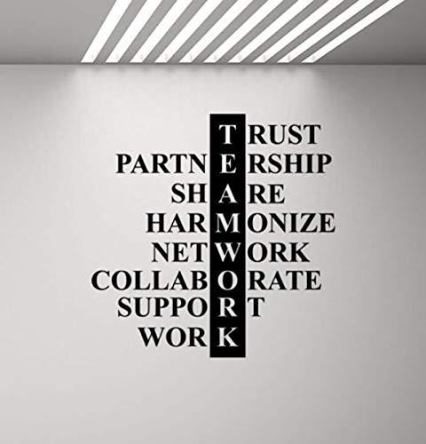 guijiumai Büro Wandtattoo Teamwork Regeln Vinyl Aufkleber Erfolg Poster Arbeit Business Wand Room Decor Motivation Aufkleber Zitat 935 schwarz 75x75 cm
