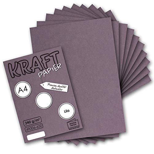 50x Vintage Kraftpapier in Lila - DIN A4 21 x 29,7 cm - 210 x 297 mm - 240 g/m² natur Recycling-Papier, 100% ökologisch Bastel-Karton Einzel-Karte UmWelt by GUSTAV NEUSER®