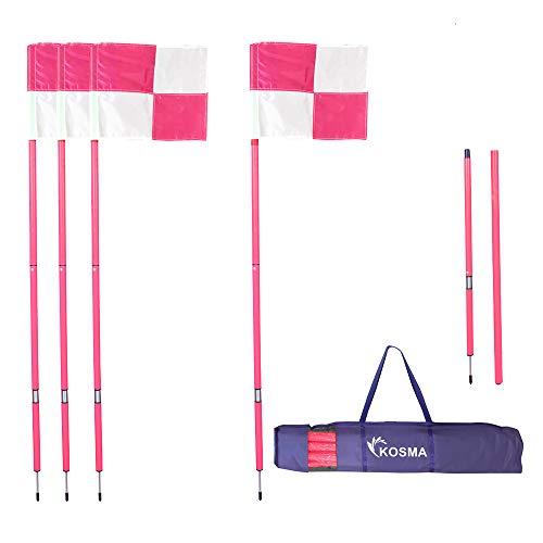 Kosma Faltbare Eckfahnen mit Befestigungsspieß und Feder, rosafarbener Mast, 1,5 m x 25 mm, mit rosa und weißen Viertelkreismuster, in Tragetasche, 4 Stück