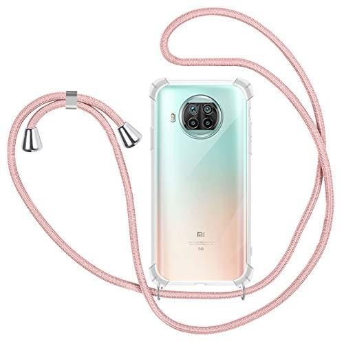 SAMCASE Funda con Cuerda para Xiaomi Mi 10T Lite 5G, Carcasa Transparente TPU Suave Silicona Case con Correa Colgante Ajustable Collar Correa de Cuello Cadena Cordón - Oro Rosa