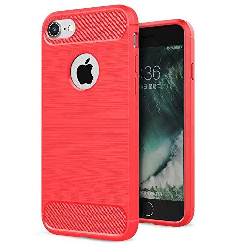 HUSHCO Funda iPhone SE 2020 iPhone 8 iPhone 7, Anti Choques y Antigolpes, Rojo
