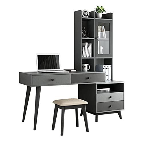 QEWR Mesa de ordenador gris estable para oficina en casa, mesa de trabajo para escribir, mesa de trabajo, mesa de trabajo de fácil montaje, se puede utilizar como estantería para libros, tocador.