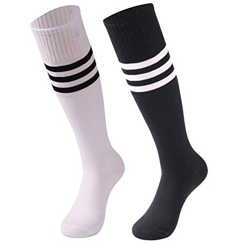 saounisi Women Tube Socks,2 Pairs Knee High Dress Socks Sprite Football Soccer Sports Team Socks Size 9-13 Black/White