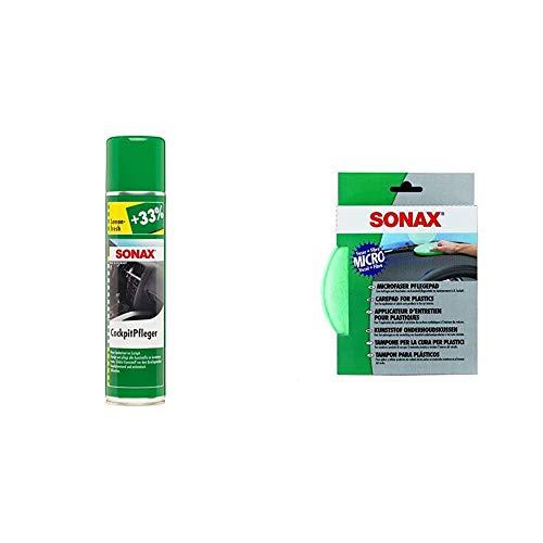 SONAX CockpitPfleger Lemon-Fresh (400 ml) reinigt und pflegt alle Kunststoffteile im Auto & MicrofaserPflegePad (1 Stück) für gleichmäßiges Auftragen von Kunststoffpflegemitteln