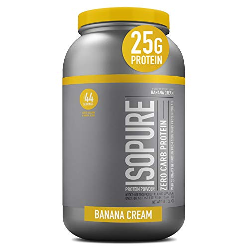 Isopure Zero Carb, Vitamin C and Zinc for Immune Support, 25g Protein, Keto Friendly Protein Powder, 100% Whey Protein Isolate, Flavor: Banana Cream, 3 Pounds (Packaging May Vary)