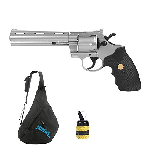 Revólver Galaxy G36B ! Pistola de Airsoft Sistema: Muelle Tipo Colt Python 357 (Plata) + Mochila y Accesorios