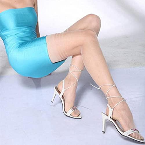 ShSnnwrl Bas Antidérapant Haut Bas Femmes D'été sur Genou Chaussettes Sexy Fille Femme Cuisse Bas Double Bar Rayures Bas Blanc