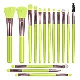 Monnstar Brochas de maquillaje profesionales, material sintético utilizado para colorete, polvos, sombra de ojos (verde)