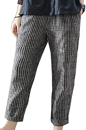 Pantalones Harem Vintage Cintura Elástica Algodón Lino Rayas Pantalones De Mujer