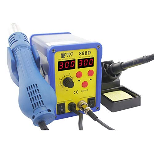 Hand Tools, Best BST-898D 2 in 1 AC 220V 720W LED Displayer Helical Wind Adjustable Temperature Unleaded Hot Air Gun + Solder Station & Soldering Iron, EU Plug (Color : S-etp-0250a)