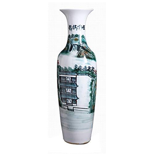 Vase Tumba grande de cerámica clásica de pie para decoración de flores secas, decoración del hogar, hogar, sala de estar, hotel, dormitorio, oficina, verde, 39 x 140 cm para flores