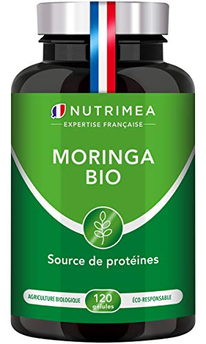 MORINGA Oleifera BIO 330 mg - Superaliment - Nutriments, vitamines, minéraux, acides aminés, zinc et magnésium - Tonus, Antioxydant, Immunité - 120 gélules vegan - Fabriqué en France - Nutrimea