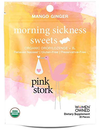 Pink Stork Morning Sickness Sweets: Ginger Mango Morning Sickness Candy for Pregnancy, USDA Organic + Vitamin B6, Women-Owned, 30 Hard Lozenges