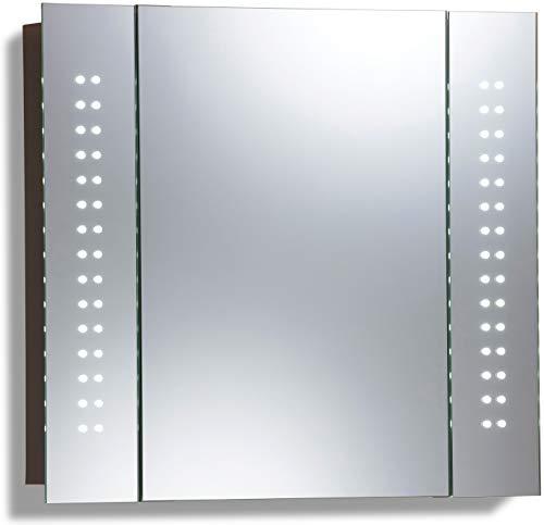 LED beleuchteter Badezimmer Spiegelschrank (Tageslichtweiß bei 6500K) TÜV geprüft mit Antibeschlag-Pad ohne sichtbare Kabel, Steckdose, Sensor-Schalter und LED-Lichter 60cm x 65cm x12cm (HxBxT) C19