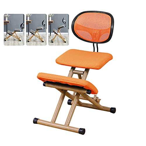 LIfav Ergonomic Kneeling Chair, for Promote Good Posture Improve Seated Posture, Snug Furniture, Classic Kneeling Chair, Natural Wood, Best Gift,Orange