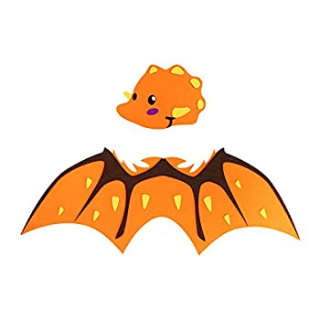 Multifit Toddler Kids Dinosaur Wings and Mask Dragon Wings Costume for Boys Girls Halloween Dress Up Party Favors Gift Orange