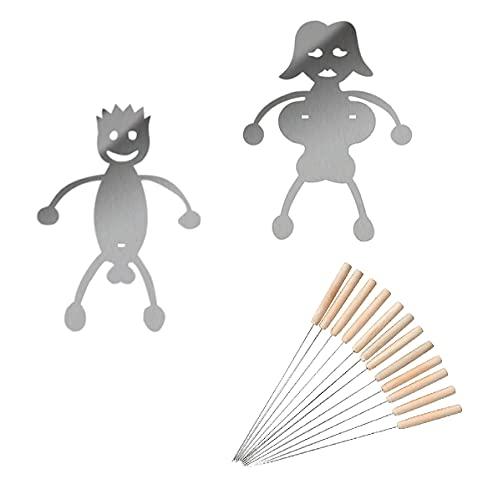 PIVOT Edelstahl Hot Dog/Marshmallow Röster, Kreative Frauen & Männer geformte Lagerfeuer Bratspieß Stick Passend für Camping Lagerfeuer Grillen Grill (Weiblich+männlich+12 × Grillgabel)