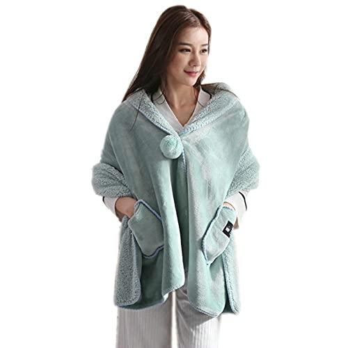 Manta de chal cálida manta de franela para uso al aire libre, manta de felpa para viajes espesar manta de dormitorio (verde claro)