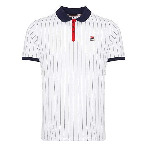 Fila, Polo da tennis da uomo White Line BB1, stile vintage, colore: bianco a righe Bianco/Cred/Peacoat L