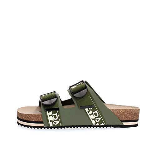 Napapijri NA4ETH Leather Sandal Sandalen UND Slipper Herren Green 42