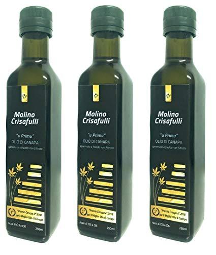 Pack 3 x 250 ml Olio di semi di Canapa siciliana Molino Crisafulli. Miglior olio d'Italia 2018- 2019