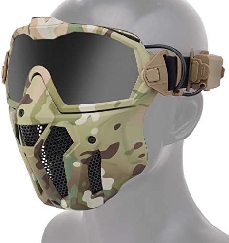Airsoft Face Mask and Anti Fog Goggles Kit Half Lower Steel Mesh Mask and Removable Goggles product image