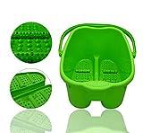 Fußmassagegerät Fußbad Fußbadewanne Fuß Wanne SPA Plastik Fußbecken Fußmassage mit 6 x Massagerollen 20 Liter Blau Grün Violett (Grün)