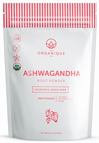 Ashwagandha Root Powder - 100% Pure Certified Organic Herbal Supplement - Natural Adaptogenic Energy Boost and Stress Relief - Promotes Vitality and Strength - by The Organique Co. 10oz