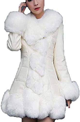 Femme en Cuir D'unité Centrale Coréenne De Manteau De Fourrure De Neuf-Point Manches Longues en Simili Fourrure,blanc,S