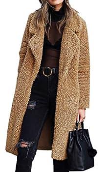 Angashion Women s Fuzzy Fleece Lapel Open Front Long Cardigan Coat Faux Fur Warm Winter Outwear Jackets Dark Camel S