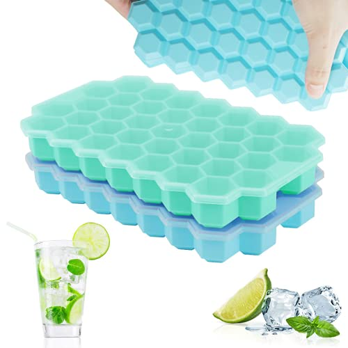 Upgrade Ice Cube Trays, TGJOR 2 Pack Silicone Flexible Ice Cube Trays with Lid, 74 Cubes Ice Trays...