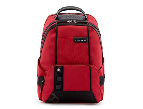"""SCHARLAU - Mochila Grande de Nailon con Compartimento para Portátil hasta 15,6"""" Pulgadas, Personalizable con Nombre, 31 x 42 x 14 cm, en Color Rojo"""