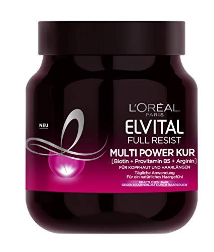 L'Oréal Paris Elvital Haarkur gegen Haarausfall durch Haarbruch, Ohne Parabene oder Silikone, Für kraftloses Haar, Mit Biotin, Provitamin B5 und Arginin, Full Resist Multi Power Kur, 1 x 680 ml