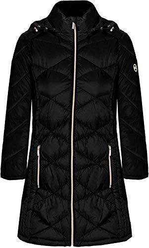Michael Michael Kors Women's Black 3/4 Down Hooded Packable Coat (L)