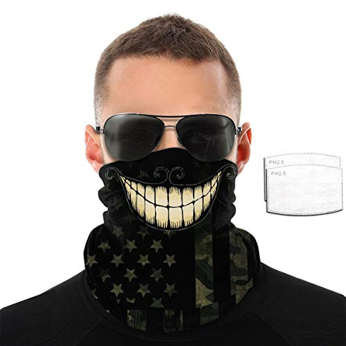 Cat Smile Happy Smiling Lip Black And White Joker Clown Skull Camo American Flag Pm2.5 Filter Neck Gaiter Reusable Washable Face Dust Mask Bandana Half Bavaclava Headband Shield Scarf Fishing Print