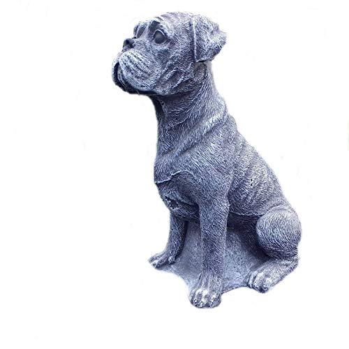 Steinfigur Boxer Welpe Hund aus Steinguss Gartenfigur Deko Frostfest wetterfest