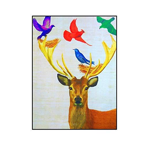 SDFSD Cartoon Tier Hirsch Elch Buck Geweih Abstrakter Hut Vogel Schönes Muster Kinderzimmer Home Art Poster Wandkunst Leinwand Malerei 30 * 40cm