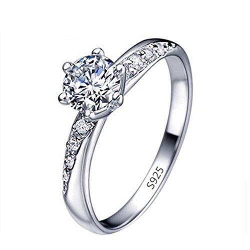 daliuing Anillo elegante con incrustaciones de diamantes, anillo de plata para mujeres y niñas, joya para regalo