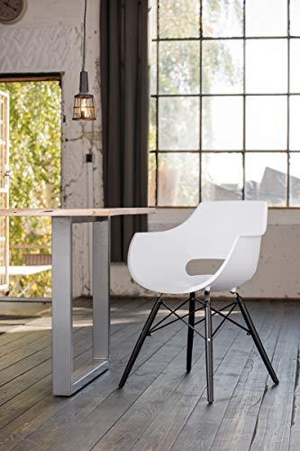 KAWOLA Essgruppe 5-Teilig mit Esstisch Baumkante nussbaumfarben Fuß Silber 160x85cm und 4X Stuhl ZAJA Kunststoff weiß