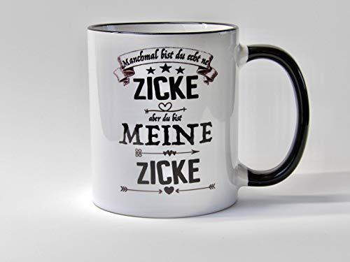 Freundin Geschenk Tasse Du bist meine Zicke Kaffee Geschenk Tasse für Freundin mit frechen Spruch Liebe Streit vertragen Zickerei