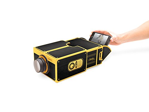 Smart Phone Projector, watch iPhone/Android videos on a portable home cinema in a box, Black/Gold